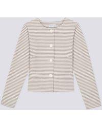 agnès b. - Grey Horizontal Stripes Illy Jacket - Lyst
