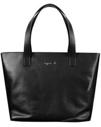 agnès b. - Black Leather Cleliane Shopping Bag - Lyst