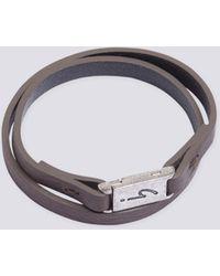 agnès b. - Grey Leather Irony Bracelet - Lyst