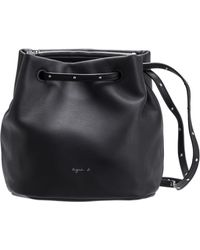 agnès b. - Black Small Leather Bucket Bag - Lyst