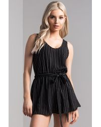 AKIRA - Playing Our Anthem Striped Romper - Lyst