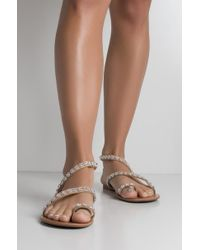 AKIRA - Shes Got It All Bling Strappy Sandals - Lyst