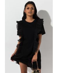 a188177a4760 AKIRA - Wicked Ruffle Trim Tshirt Dress - Lyst