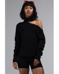 AKIRA - Get Comfortable Cutout One Shoulder Turtleneck Sweatshirt - Lyst