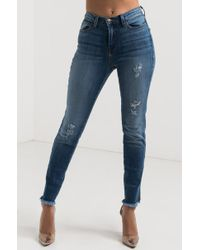 AKIRA - Young And Free Skinny Frayed Jeans - Lyst