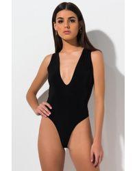 AKIRA - Picture It All Deep V Bodysuit - Lyst