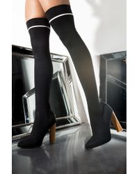 AKIRA - Midnight Rain Thigh High Knit Heeled Boot - Lyst