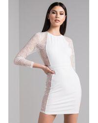 AKIRA - Not Sleeping Tonight Lace Sleeve Mini Dress - Lyst