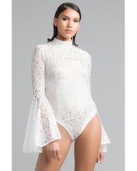 AKIRA - Walk My Way Frill Sleeve Lace Bodysuit - Lyst