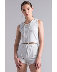 AKIRA - Chill Like That Hooded Crop Top - Lyst