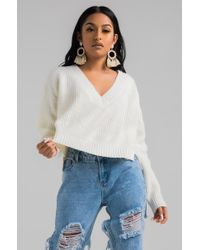 AKIRA - Think I'm Gonna Like It Here V Neck Knit Sweater - Lyst