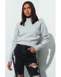 Champion - Reverse Weave Mock Neck Crop Pinstripe Sweatshirt - Lyst
