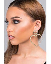 AKIRA - Full Heart Rhinestone Earring - Lyst