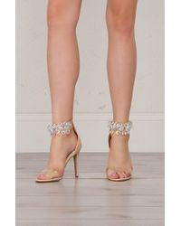 3065bc9301fa6 AKIRA - Got Cash Bling Bling Strappy Heeled Sandals - Lyst