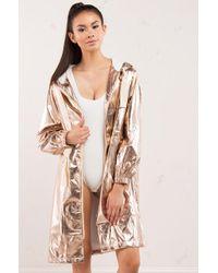 AKIRA - Samantha Rose Gold Trench Coat - Lyst