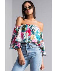 780bbbd91224d AKIRA - Vacay Forever Floral Printed Crop Top - Lyst