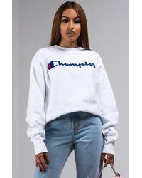 Champion - Life® Reverse Weave® Crew, Chenille Script Logo - Lyst