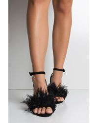 AKIRA - Look At You Go Strappy Feather Sandals - Lyst