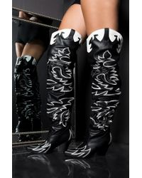 cb3d77f38ea Cape Robbin Lasercut Suede Over The Knee Peep Toe Boots - Black in ...
