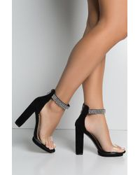 AKIRA - Give Me The Green Light Ankle Strap Chunky Heeled Sandals - Lyst