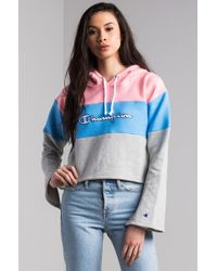 Champion - Reverse Weave Colorblock Cropped Hoodie - Lyst