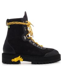 "Off-White c/o Virgil Abloh - Black ""hiking"" Boots With Yellow Details - Lyst"