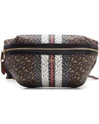 Burberry E-canvas Bum Bag With Tb Monogram - Brown