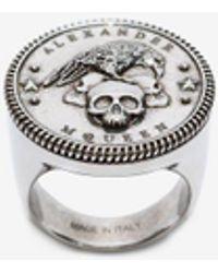 Alexander McQueen - Crow & Skull Medallion Ring - Lyst