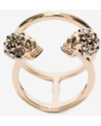 Alexander McQueen - Twin Skull Double Ring - Lyst