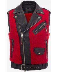 Alexander McQueen - Shearling And Buffalo Leather Biker Vest - Lyst