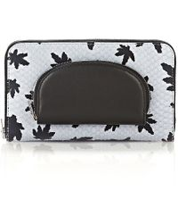 Alexander Wang - Continental Zip Wallet In Leaf Printed Pale Blue With Coin Pouch - Lyst