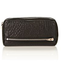 Alexander Wang - Fumo Continental Wallet In Black Pebble Leather With Rosegold - Lyst