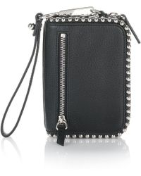 Alexander Wang - Large Fumo Wallet In Pebbled Black With Ball Studs - Lyst