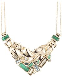 Alexis Bittar - Crumpled Gold Stone Studded Bib Necklace - Lyst
