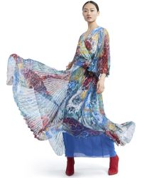 fe9a8d3380 Alice + Olivia Shannon Pleated Metallic Printed Chiffon Maxi Skirt in  Metallic - Lyst