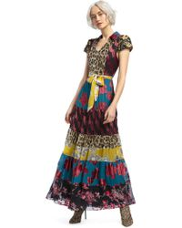b848233f28 Alice + Olivia Daren V-neck Stripe Paneled Maxi Dress - Lyst