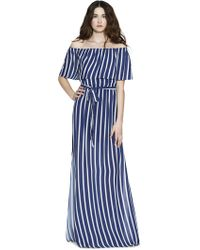 Alice + Olivia - Grazi Off-the-shoulder Striped Voile Maxi Dress - Lyst