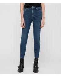 AllSaints Roxanne Raw - Edge Skinny Jeans In Dark Indigo