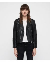 AllSaints - Estella Leather Biker Jacket - Lyst