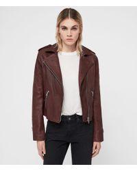 AllSaints - Hadi Cropped Leather Biker Jacket - Lyst