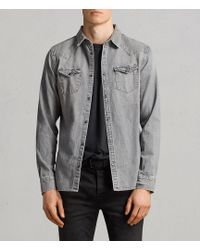 AllSaints - Gamble Denim Shirt - Lyst