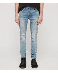 AllSaints - Cigarette Damaged Skinny Jeans, Light Indigo Blue - Lyst