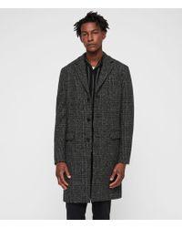 AllSaints - Dowell Herringbone Wool Coat - Lyst