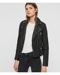 AllSaints - Ladies Black And Grey Leather Classic Cargo Biker Jacket, Size: 00 - Lyst