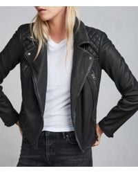 AllSaints - Cargo Leather Biker Jacket - Lyst