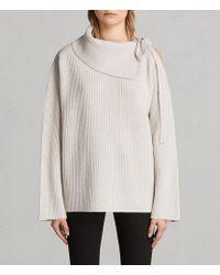 AllSaints - Sura Tie Neck Sweater - Lyst