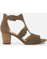 Clarks - Deloria Kay Suede Block Heeled Sandals - Lyst