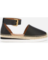 See By Chloé Glyn Leather Espadrille Flat Sandals