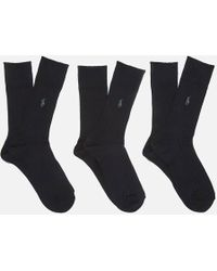 Polo Ralph Lauren - Men's Egyptian Cotton Ribbed Socks (3 Pack) - Lyst