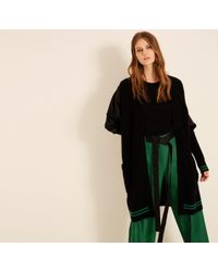Amanda Wakeley - Black & Emerald Ribbed Cashmere Cardigan - Lyst